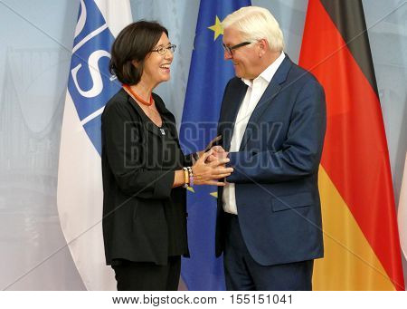 POTSDAM GERMANY. SEPTEMBER 1ST 2016: Federal Foreign Minister Dr Frank-Walter Steinmeier welcomes Christine Muttonen President of the Parliamentary Assembly of the Organisation for Security and Co-operation in Europe to the Informal OSCE Foreign Minister'