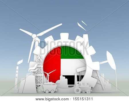 Energy and Power icons set with United Arab Emirates flag. Sustainable energy generation and heavy industry. 3D rendering