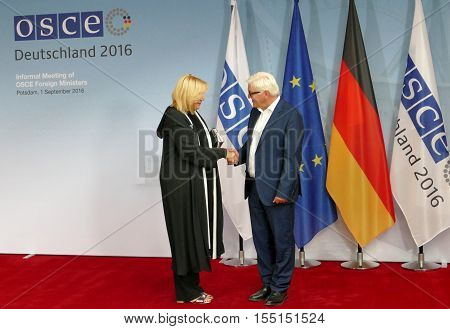 POTSDAM GERMANY. SEPTEMBER 1ST 2016: Federal Foreign Minister Dr Frank-Walter Steinmeier welcomes Dunja Mijatovic Representative on Freedom of the Media of the Organisation for Security and Co-Operation in Europe to the Informal OSCE Foreign Minister's Me