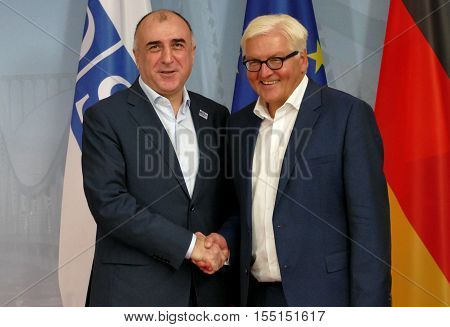 POTSDAM GERMANY. SEPTEMBER 1ST 2016: Federal Foreign Minister Dr Frank-Walter Steinmeier welcomes Elmar Mammadyarov Minister of Foreign Affairs of the Republic of Azerbaijan to the Informal OSCE Foreign Minister's Meeting held in Potsdam Germany