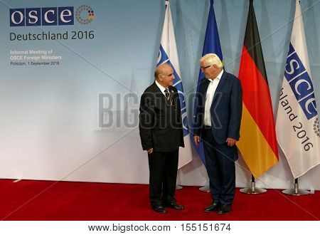 POTSDAM GERMANY. SEPTEMBER 1ST 2016: Federal Foreign Minister Dr Frank-Walter Steinmeier welcomes George Vella Minister of Foreign Affairs of the Republic of Malta to the Informal OSCE Foreign Minister's Meeting held in Potsdam Germany