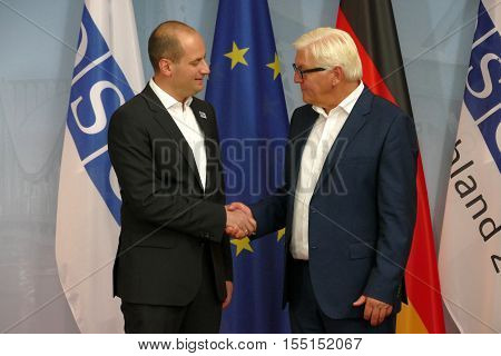 POTSDAM GERMANY. SEPTEMBER 1ST 2016: Federal Foreign Minister Dr Frank-Walter Steinmeier welcomes Mikheil Janelidze Minister of Foreign Affairs of Georgia to the Informal OSCE Foreign Minister's Meeting held in Potsdam Germany