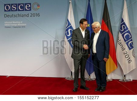 POTSDAM GERMANY. SEPTEMBER 1ST 2016: Federal Foreign Minister Dr Frank-Walter Steinmeier welcomes Miro Kovac Minister of Foreign Affairs of Republic of Croatia to the Informal OSCE Foreign Minister's Meeting held in Potsdam Germany