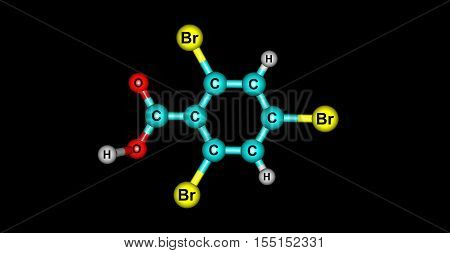 246-Tribromobenzoic acid. 3d horizontal illustration of acid on black