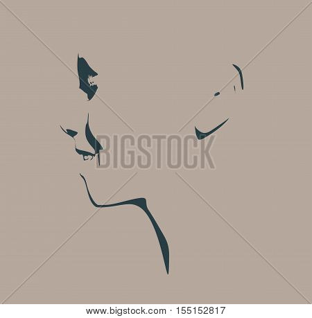Human head silhouette. Face side view. Elegant silhouette of part of human face. Vector Illustration. Emotions of the happiness