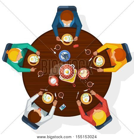 Kitchen top view with family meal at table flat vector illustration