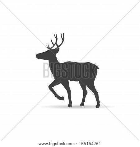 Vector emblem monochrome deer on isolated background