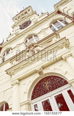 Detail photo of Beautiful Budmerice castle in Slovak republic. Architectural theme. Cultural heritage. Beautiful place. Retro photo filter. Travel destination.