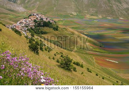 Panoramic view of Castelluccio di Norcia before the earthquake of central italy