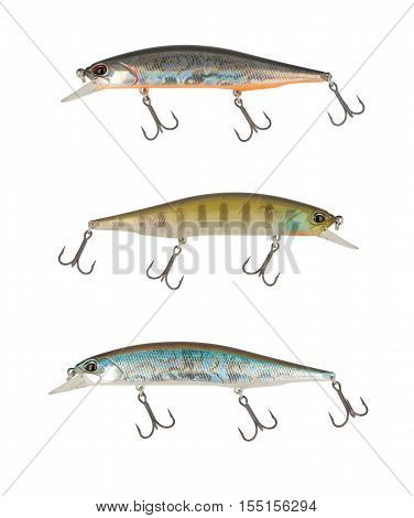 Wobbler spoon isolated on white background. Fishing lures.