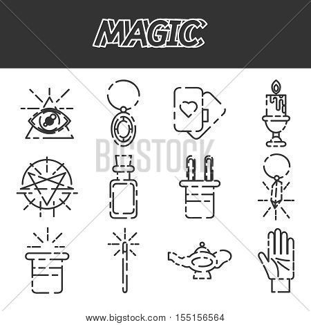 Magic and magician tools. Flat style color vector symbols isolated on white.