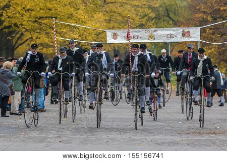 PRAGUE CZECH REPUBLIC - NOVEMBER 5 2016: Unidentified participants in high wheeler race