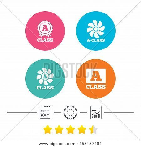 A-class award icon. A-class ventilation sign. Premium level symbols. Calendar, cogwheel and report linear icons. Star vote ranking. Vector