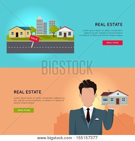 Set of real estate vector conceptual web banners in flat style. Selling and buying a new place for living.  Illustration for real estate company web page design, advertising, housing concepts.