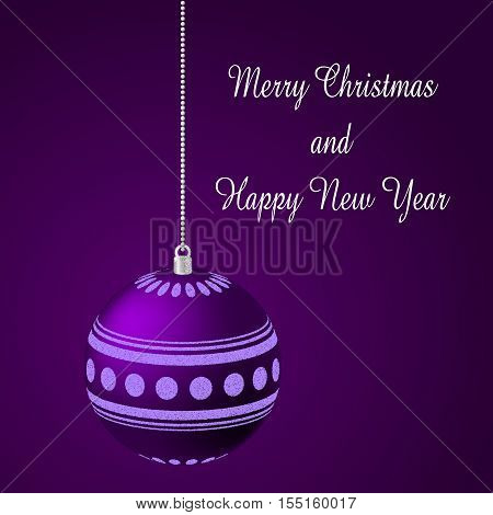 Merry Christmas background. Violet background with decoration and place for text.