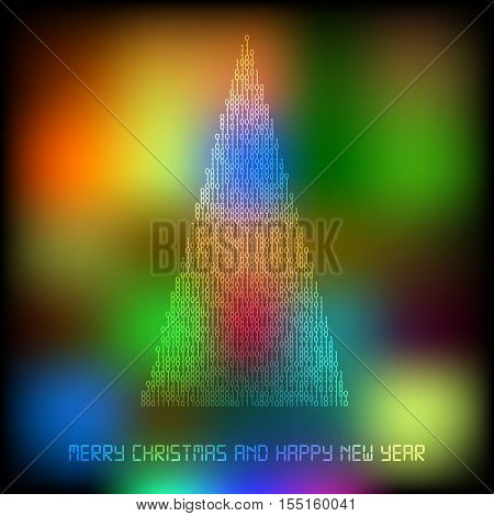 Abstract Merry christmas and happy new tree filled by binary code on multicolor background