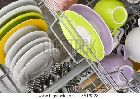 Background of clean dishes in dishwashing machine top view