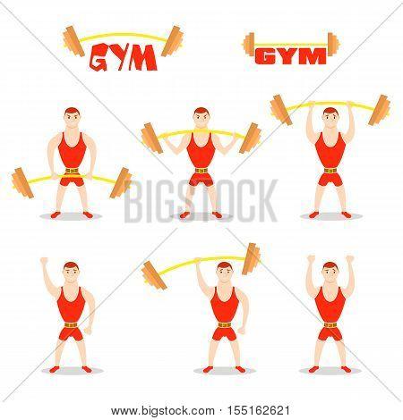 Cartoon man barbell exercises: squat, deadlift, overhead press. Weight lifting illustration. Cute athlete