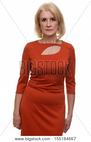 Serious Woman In Red Dress. Isolated