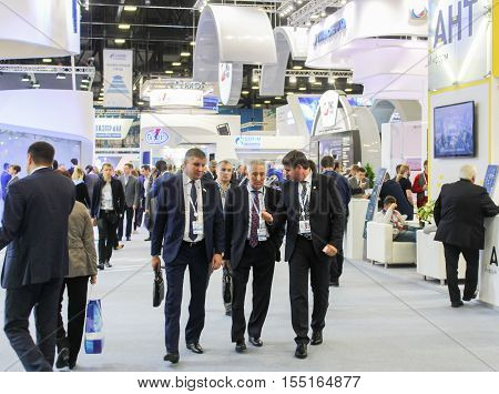 St. Petersburg, Russia - 4 October, A crowd of business people at Gas Forum., 4 October, 2016. Petersburg Gas Forum which takes place in Expoforum.
