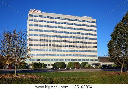 Bracknell,England - November 06,  2016: The Fujitsu Office in Bracknell, England.Fujitsu is a global information and communication technology (ICT) company
