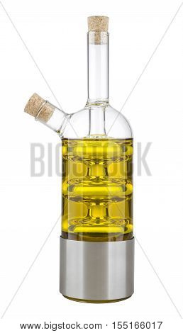 Bottle of olive oil with two necks and cork stoppers