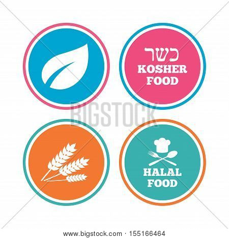 Natural food icons. Halal and Kosher signs. Gluten free. Chief hat with fork and spoon symbol. Colored circle buttons. Vector