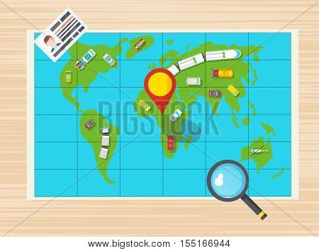 Driver license magnifier and global map with different transports on it top view poster flat vector illustration