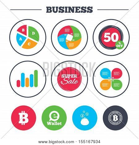 Business pie chart. Growth graph. Bitcoin icons. Electronic wallet sign. Cash money symbol. Super sale and discount buttons. Vector