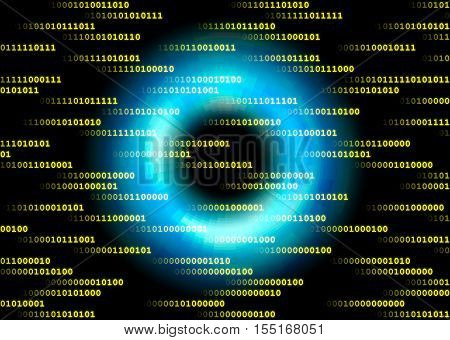Sent data in cyberspace in front of a blue ring.
