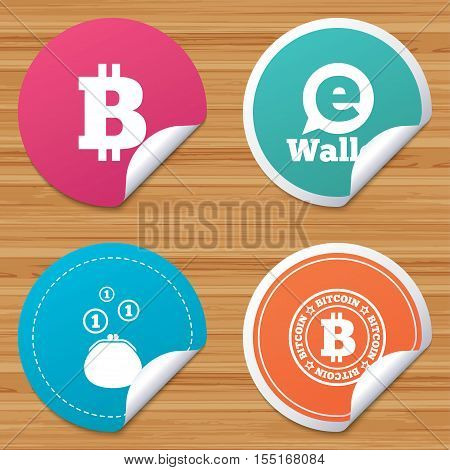 Round stickers or website banners. Bitcoin icons. Electronic wallet sign. Cash money symbol. Circle badges with bended corner. Vector