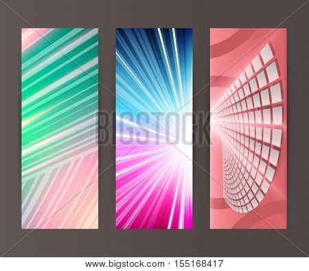 Vertical Banner Set Design Element Background Glow Abstract Shape26
