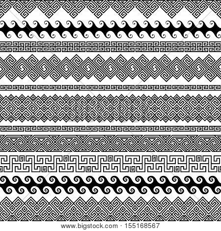 Set of modern seamless vector brushes for creating frames borders dividers in the style of a Greek meander. Linear ornaments and patterns for wedding invitations birthday and greeting cards. The brush included in the file.