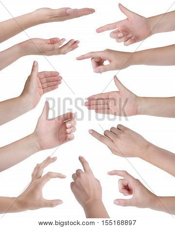 Collage of eleven woman hands isolated on white