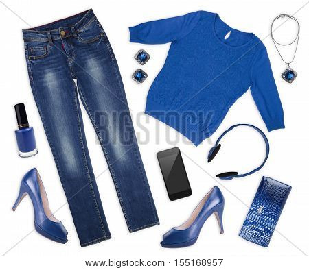 Collage of female autumn clothes and assessories on white