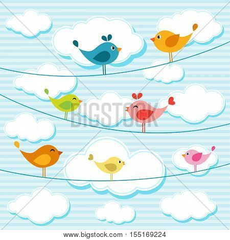 illustration of cute colorful birds on wires