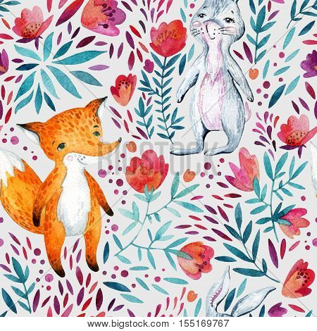 Watercolor cute cartoon bunny and fox seamless pattern. Forest animal and detailed flowers petals leaves natural elements background. Wild animals friendship. Illustration for childish design