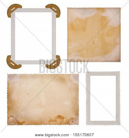 Collection of old photo paper frames isolated on white