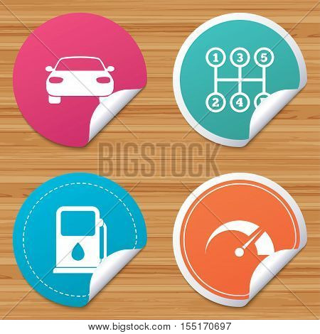 Round stickers or website banners. Transport icons. Car tachometer and manual transmission symbols. Petrol or Gas station sign. Circle badges with bended corner. Vector