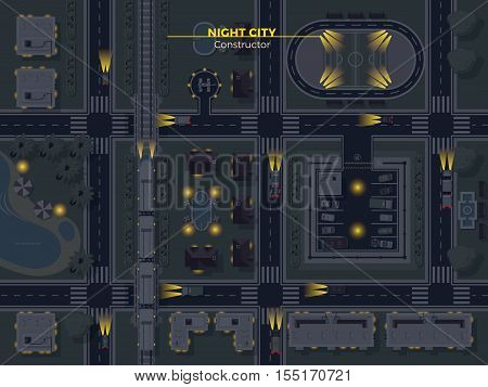 Top view poster of night city with usual elements like roads buildings parking and other flat vector illustration