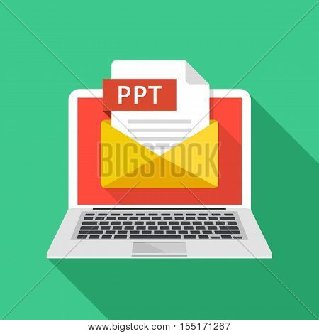Laptop with envelope and PPT file. Notebook, email, file attachment PPT presentation document. Graphic elements for website, web banner, mobile app. Modern long shadow flat design. Vector illustration