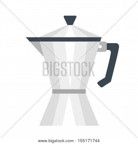 Stovetop coffee maker. Flat design. Vector moka pot