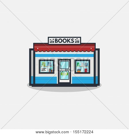 Online bookstore concept. Book selling concept. Flat line style illustration.