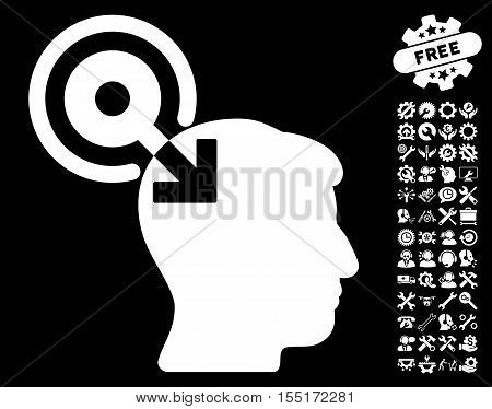 Brain Interface Plug-In icon with bonus configuration clip art. Vector illustration style is flat iconic symbols on white background.