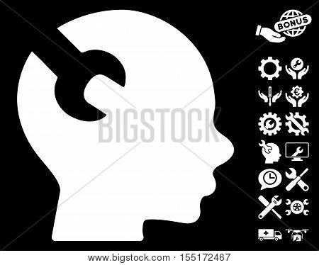 Brain Wrench Tool icon with bonus service graphic icons. Vector illustration style is flat iconic symbols on white background.