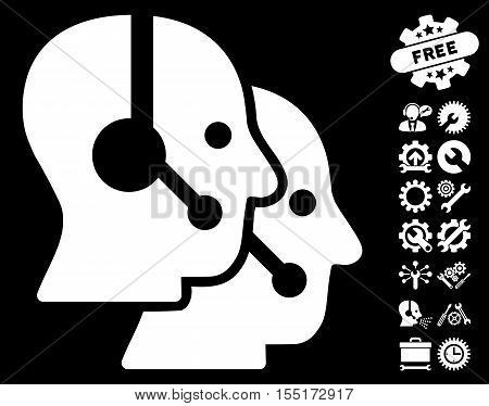 Call Center Operators icon with bonus options clip art. Vector illustration style is flat iconic symbols on white background.