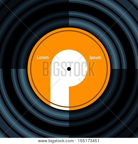 Vinyl record Vector illustration Poster background with vinyl record close up