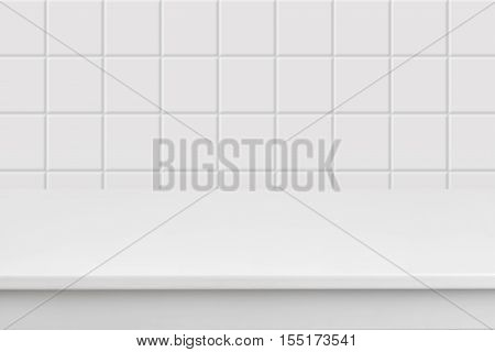 Empty white laminated surface over blurred square ceramic tile wall
