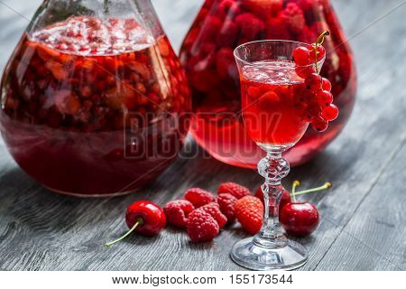 Liqueur Made Of Wild Berries And Alcohol