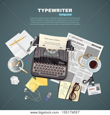 Flat background with journalist typewriter and different tools and objects for work and break vector illustration